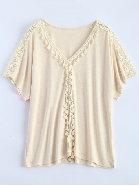 hot Tassel V Neck Crochet Panel T-Shirt - OFF-WHITE XL Mobile