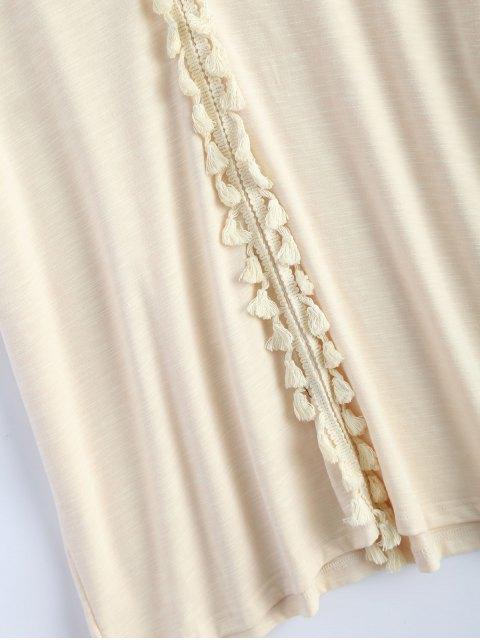 outfits Tassel V Neck Crochet Panel T-Shirt - OFF-WHITE M Mobile