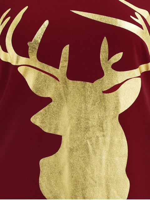 hot Reindeer Christmas Tee Dress - BURGUNDY M Mobile