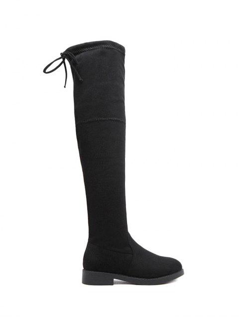 online Flat Heel Thigh High Boots - BLACK 37 Mobile