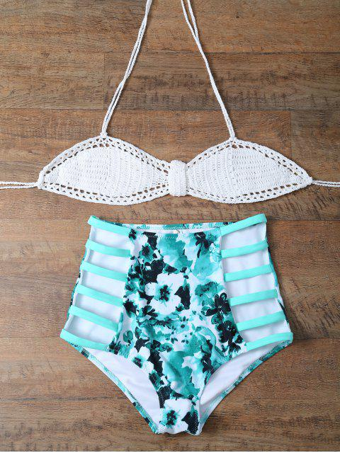 fancy High Rise Knitted Halter Bikini - WHITE AND GREEN XL Mobile