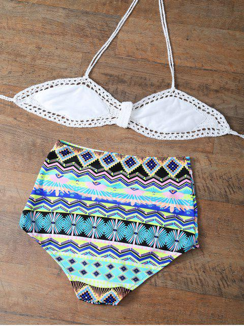 affordable High Rise Printed Halter Bikini Set - MULTICOLOR 2XL Mobile