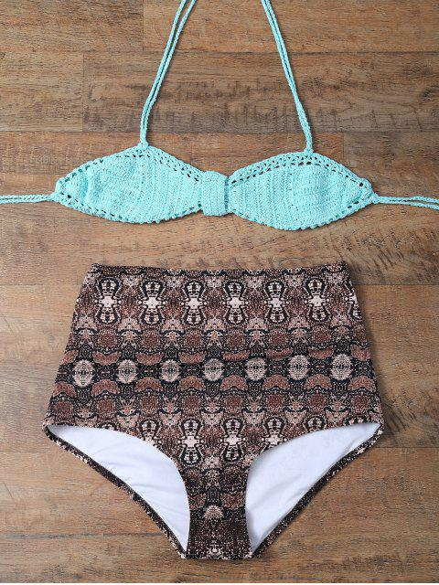 new High Waisted Printed Knitted Multiway Bikini - COFFEE AND GREEN XL Mobile
