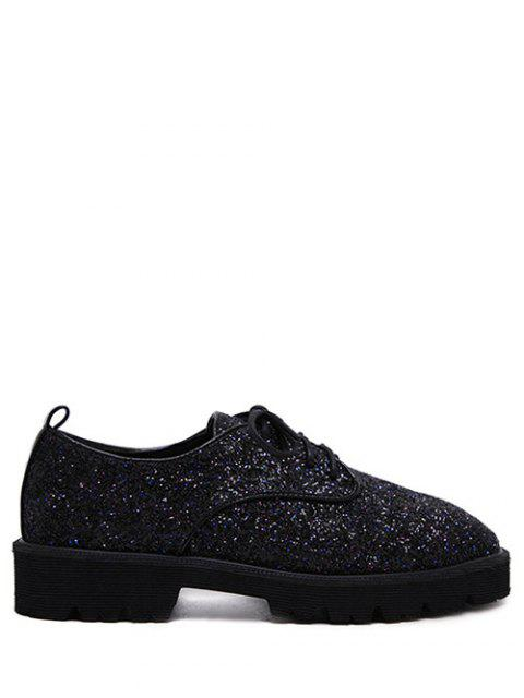 ladies Lace Up Sequins Platform Shoes - BLACK 38 Mobile