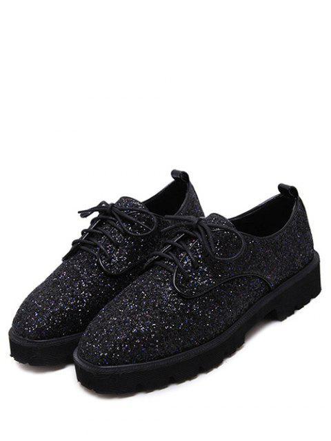 women's Lace Up Sequins Platform Shoes - BLACK 37 Mobile