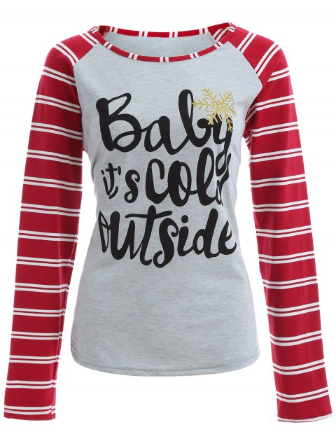 buy Striped Raglan Sleeve Christmas Tee - GRAY AND RED 3XL Mobile