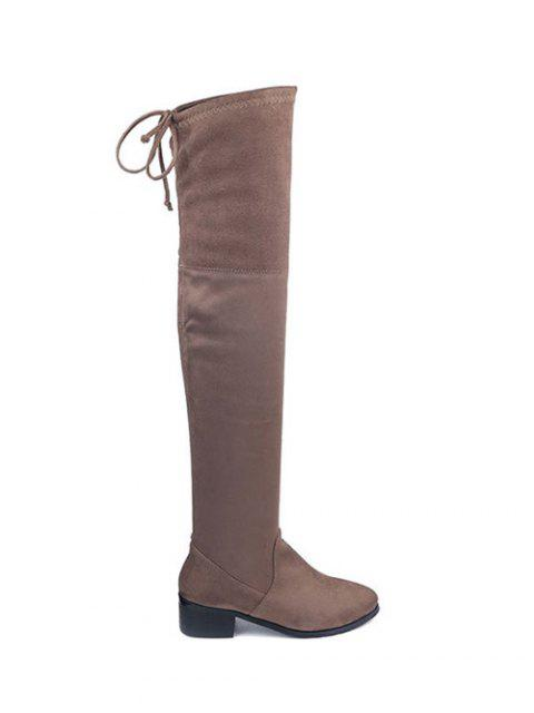 shop Flock Thigh High Boots - BROWN 38 Mobile
