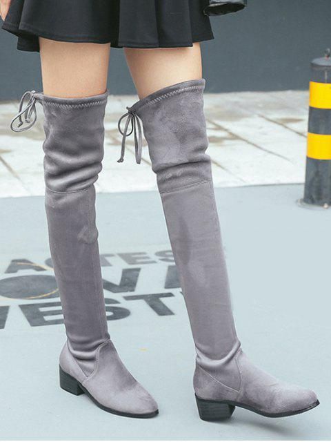 chic Flock Thigh High Boots - GRAY 39 Mobile