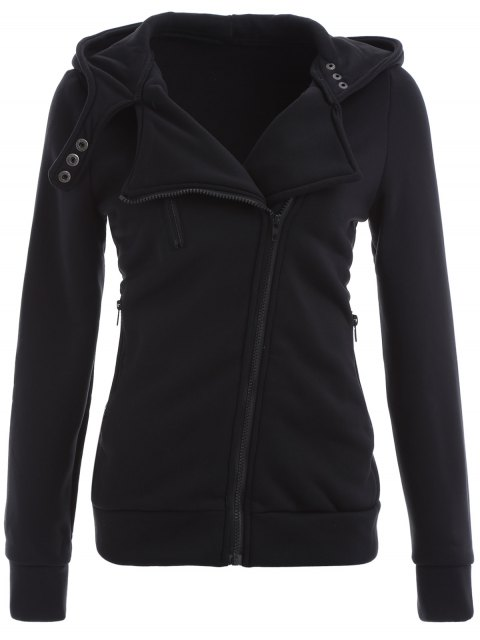 shop Zip Through Hoodie - BLACK L Mobile