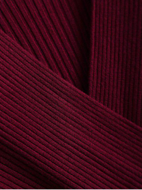 women's Ribbed Wrap Knittwear - WINE RED ONE SIZE Mobile