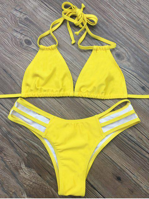 outfits Side Strap Plunge Bikini - YELLOW M Mobile