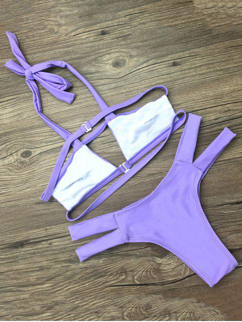 trendy Side Strap Cut Out Halter Bikini - PURPLE M Mobile