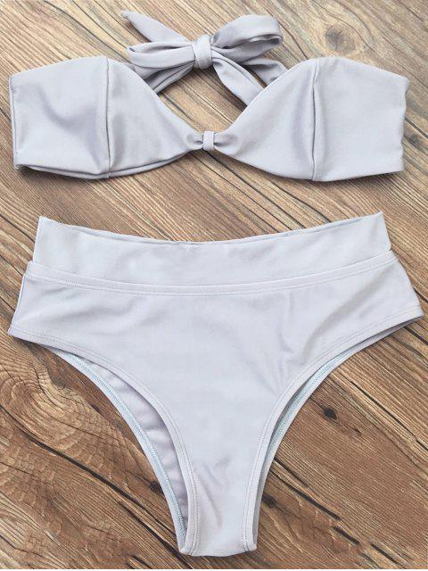 fancy Bandeau Bikini Set - GRAY L Mobile