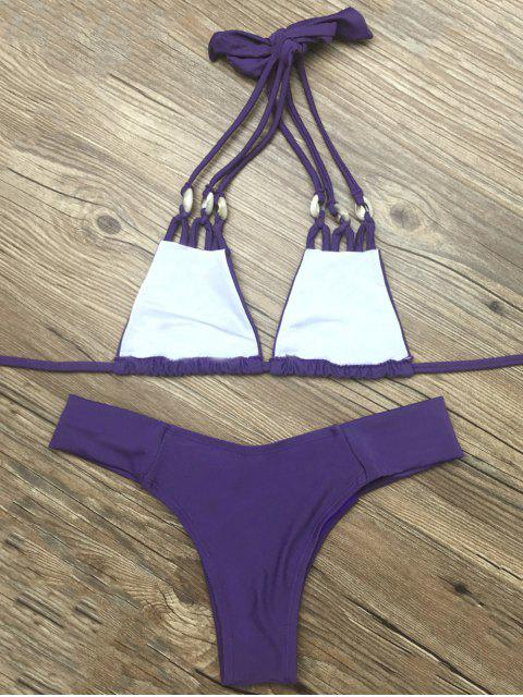 best Strappy Halter Neck Plunge Bikini - DEEP PURPLE S Mobile