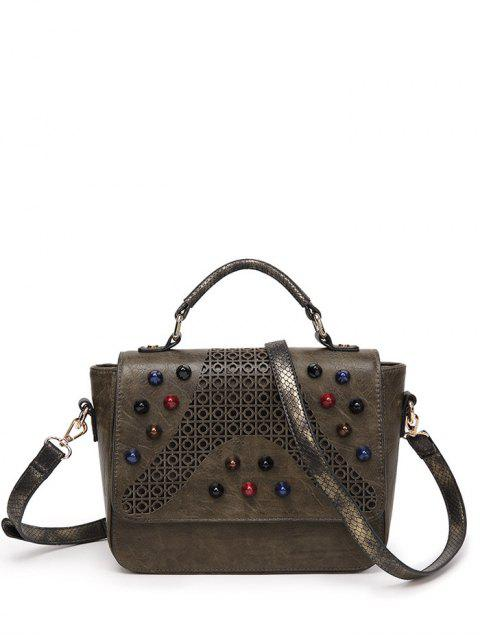 online Colored Rivet Cut Out Handbag -   Mobile