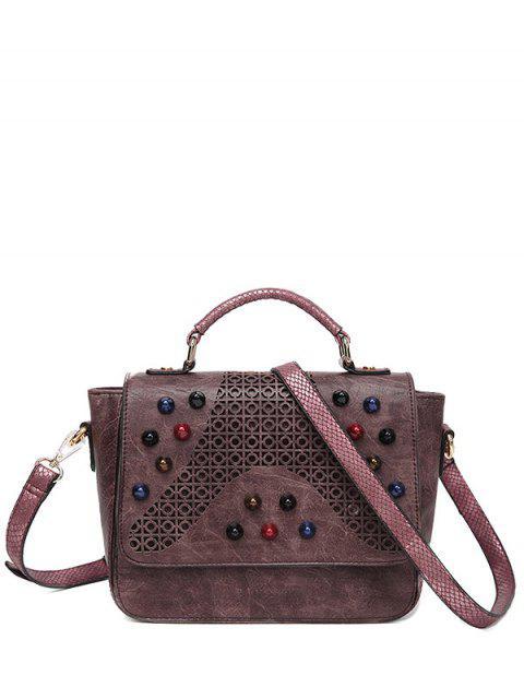 new Colored Rivet Cut Out Handbag -   Mobile