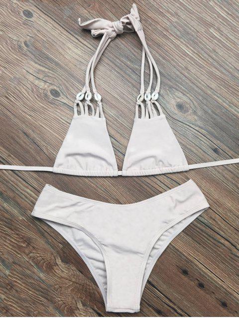 online Halter Strappy Plunge Bikini - APRICOT M Mobile