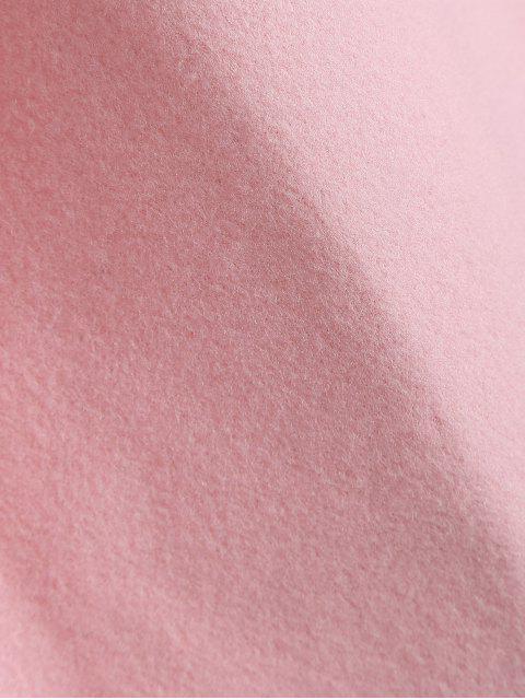 lady Plus Size Color Block Wool Blend Coat - LIGHT PINK XL Mobile