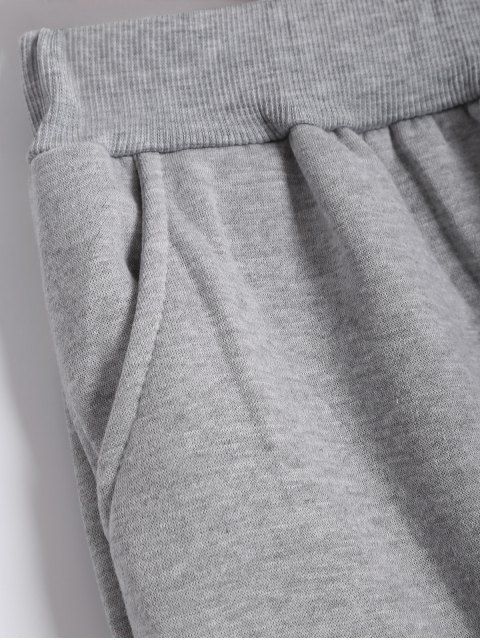 sale Printed Sports Hoodie and Gym Pencil Pants - GRAY 3XL Mobile