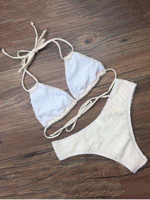 shops Self Tie Plunge Bikini - CRYSTAL CREAM XL Mobile