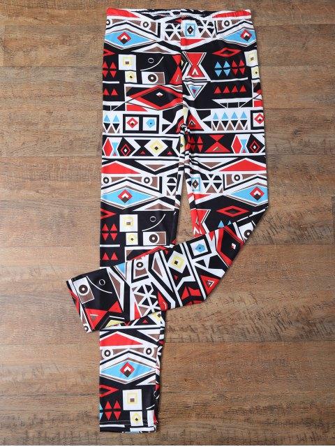 womens Geometric Printed Leggings - COLORMIX M Mobile