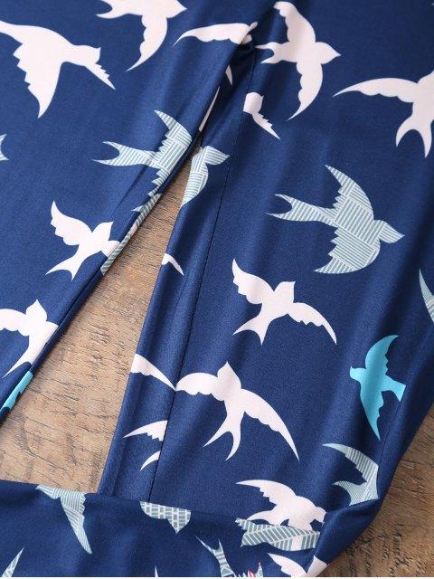 ladies Elastic Waist Swallow Print Leggings - PURPLISH BLUE M Mobile