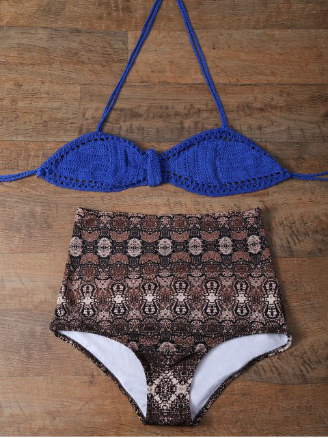 sale High Waisted Printed Knitted Bikini - MULTICOLOR XL Mobile