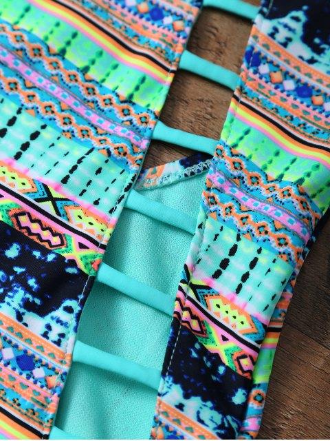 ladies Tribal Print Cutout One Piece African Print Swimsuit - MULTICOLOR L Mobile