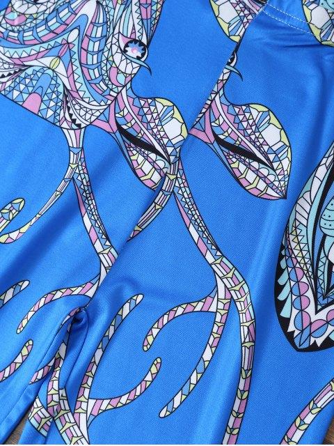 lady Cartoon Deer Leggings - BLUE XL Mobile