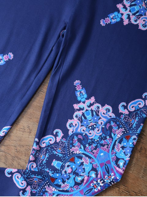 ladies Flower Printed Leggings - CADETBLUE XL Mobile
