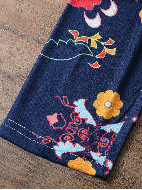 trendy Slimming Tiny Floral Pattern Leggings - PURPLISH BLUE L Mobile