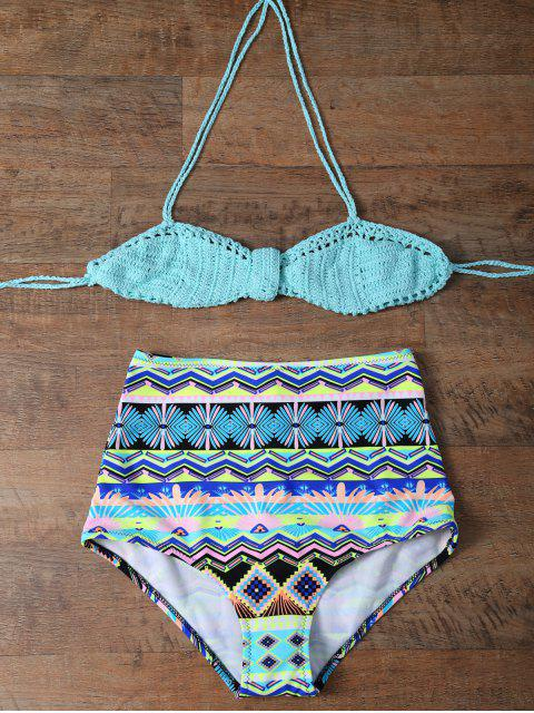 womens Knitted Multiway High Rise Bikini - TURQUOISE XL Mobile