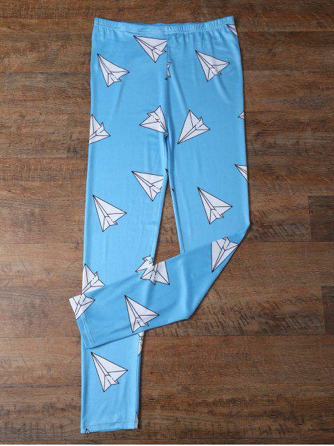 outfit Paper Plane Print Leggings - OCEAN BLUE XL Mobile