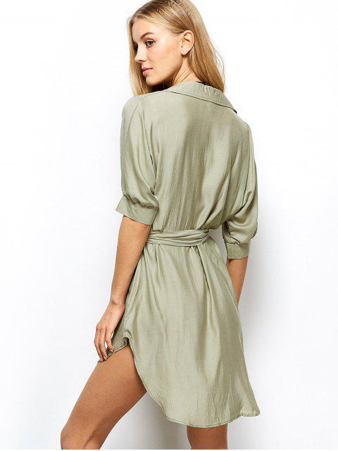 hot High Low Belted Surplice Shirt Dress - LIGHT GREEN L Mobile