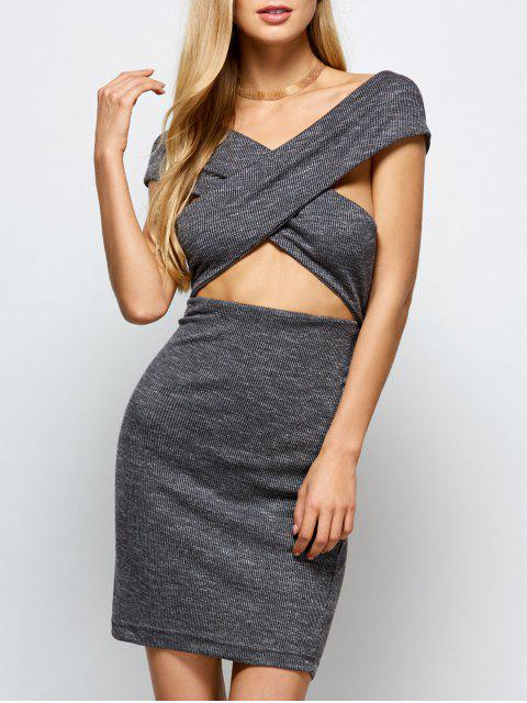 ladies Heathered Wraped Sweater Dress - GRAY L Mobile