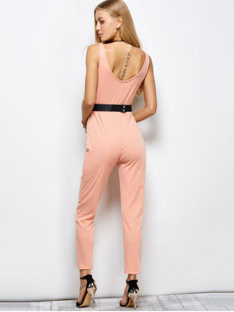 best Half Zip Straight Jumpsuit - PINK M Mobile