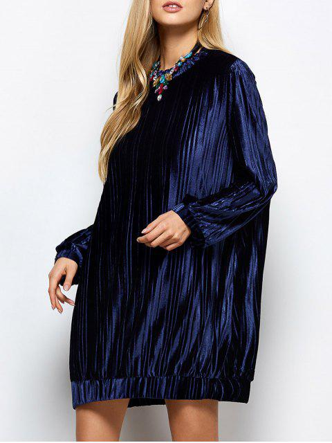 chic Elastic Hemline Relaxed Velvet Dress - PURPLISH BLUE S Mobile