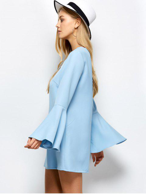 outfits Flare Sleeve Fitting Mini Dress - LIGHT BLUE S Mobile