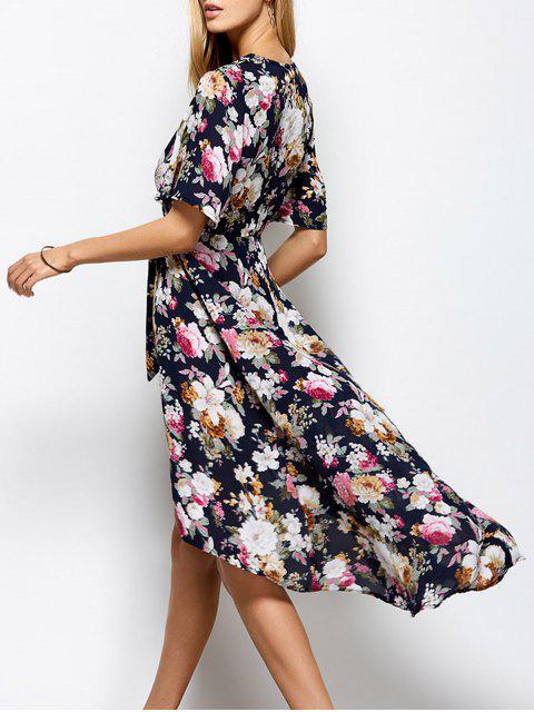 women's Front Slit Floral Maxi Surplice Dress - FLORAL L Mobile