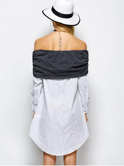 ladies Off The Shoulder Casual Dress - WHITE L Mobile
