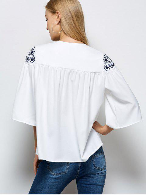 sale Retro Embroidery Jewel Neck Swing Blouse - WHITE S Mobile
