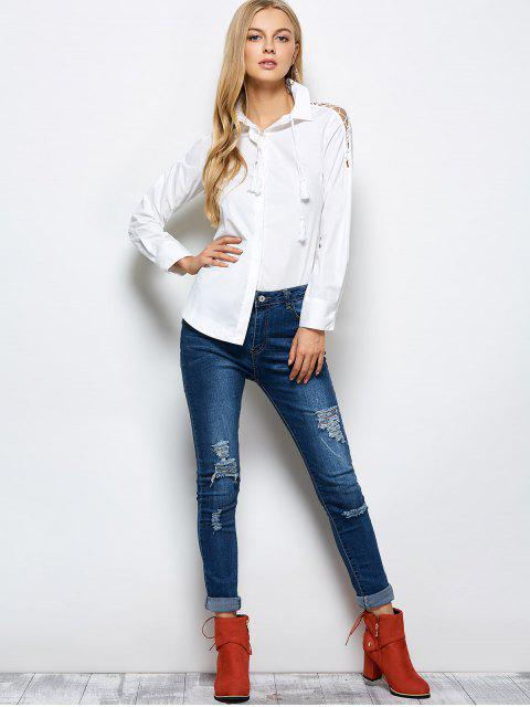 outfits Strappy Sleeve Shirt - WHITE L Mobile