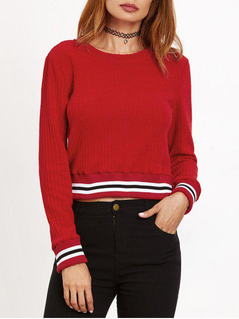 women Ribbed Cropped Pullover Sweater - RED S Mobile