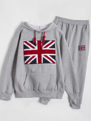 Printed Sports Hoodie And Gym Pencil Pants - Gray 2xl