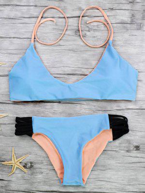 Strappy Color Block Bikini Set - Blue L