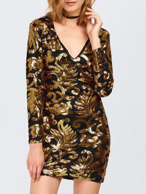 Langärmliges Sequined Sparkly Kleid