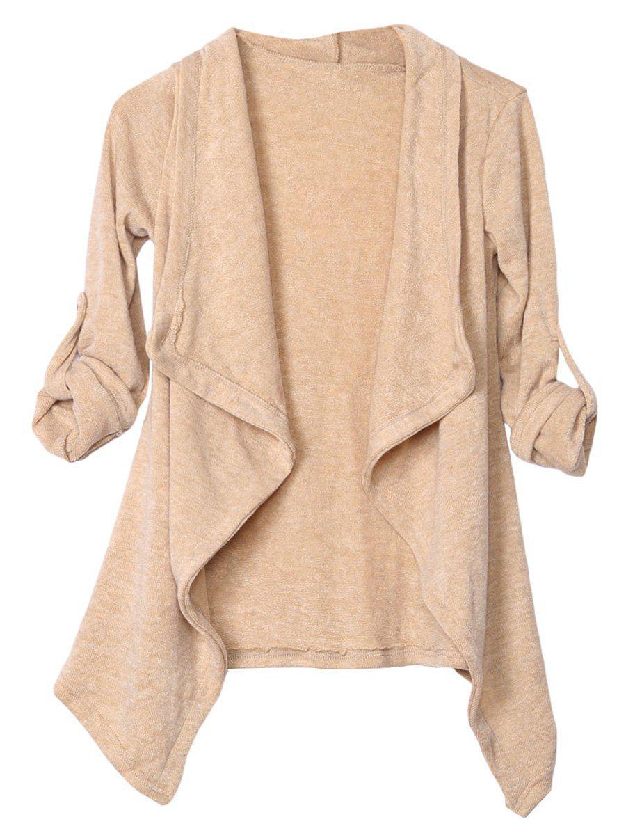 Long Sleeve Irregular Knitted Draped Cardigan 203537307