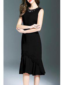فستان ميرميد عالية انخفاض دانتيل - أسود M