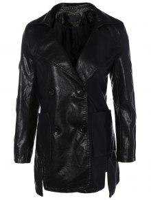 Lapel Collar Double Breasted PU Leather Coat - Black Xl