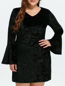 Belled Sleeve Plus Size Velvet Dress - Black 3xl